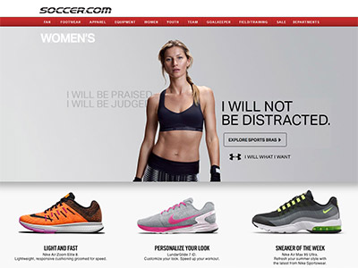 Soccer.com Women's Category Page